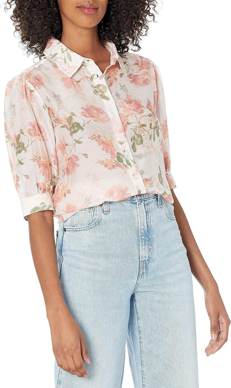 GUESS Women's Short Sleeve Via Button Down Silk Blend Blouse