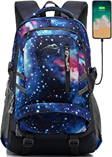 Red Suuran Vintage Unisex Laptop Backpacks Canvas Travel Rucksack School College Back Pack with USB Charging Port