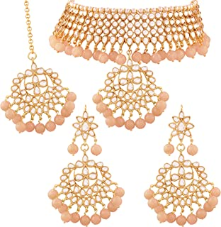 Traditional Kundan & Pearl Choker Necklace Set for Women (K7058)