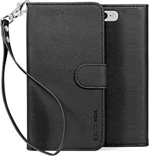 BUDDIBOX iPhone 7 Case / iPhone 8 Case, [Wrist Strap] Premium PU Leather Wallet Case with [Kickstand] Card Holder and ID Slot for Apple iPhone 7 / iPhone 8, (Black)
