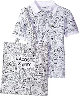 Lacoste Kids - OMY Edition Mini Piqué Print Polo And Tote (Toddler/Little Kids/Big Kids)