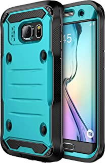 E LV Case for Galaxy S7 Edge Case Hybrid Armor Protection Defender (Without Built-in Screen Protector) Case for Samsung Galaxy S7 Edge - [Turquoise/Black]
