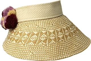 San Diego Hat Company Womens PBV012OS Visor w/a Patterned Brim and Multi Colored Pom Poms