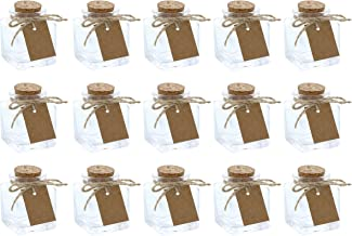 Clear Glass Bottles with Cork Lids- 15-Pack of Mini Transparent Squared Jars with Stoppers for Vintage Wedding Decoration, DIY, Home, Party Favors, 1.7-Ounce
