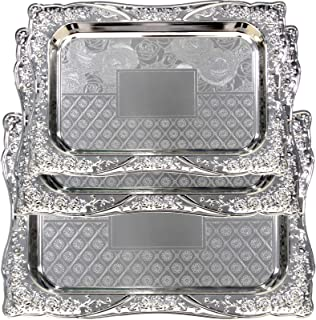Maro Megastore (Pack of 3) Three Sizes Large:20.2 x 15.4-Inch Medium: 17.5 x 12.6-Inch Small: 14.2 x 10.2-Inch Rectangular Chrome Plated Serving Tray Edge Rose Floral Engraved Decorative 2227 Ts-095
