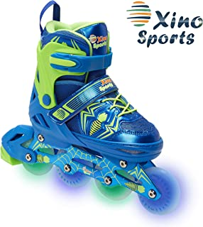 XinoSports Adjustable Inline Roller Skates - for Growing Girls and Boys, Featuring Illuminating LED Wheels, 1 Year Warranty and a Life Time Support