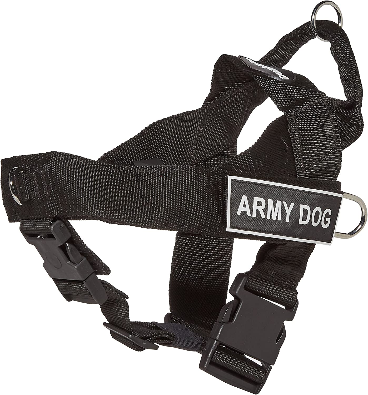 Dean & Tyler Universal No Pull 26Inch to 32Inch Dog Harness, Medium, Army Dog, Black