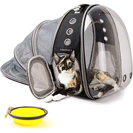 Bubble Backpack Pet Carrier - Mochila para Gatos - Expandable Cat Backpacks for Hands-Free Travel/Hiking - Airline Approved So Your Pets Can Ride in Style - Clear Capsule View of Your Puppy - Kitten