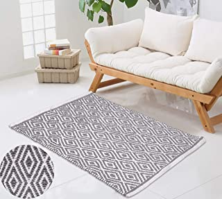 Reversible Indoor Area Rug/Mat, Machine Washable, Handmade from Cotton, Unique for Bedroom, Living Room, Kitchen, Nursery and More, 21x 34 Diamond Rugs-Light Grey Color,Entry Way Rug,Kitchen Rug