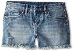 Blank NYC Kids Medium Denim Cut Off Shorts in Flavor Savor (Big Kids)