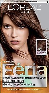 L'Oréal Paris Feria Multi-Faceted Shimmering Permanent Hair Color, 45 French Roast (Deep Bronzed Brown) (1 Kit) Hair Dye