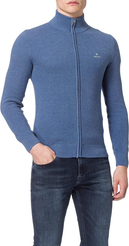 GANT Cotton Pique Zip Cardigan Suter Pulver para Hombre