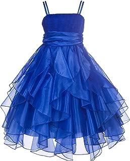 ekidsbridal Ruffled Bodice Spaghetti Strap Organza Flower Girl Dresses 151S