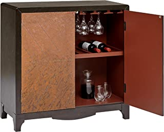 Pulaski Industrial Adjustable Shelf 2 Door Copper Sheet Wine Bar Cabinet, 36