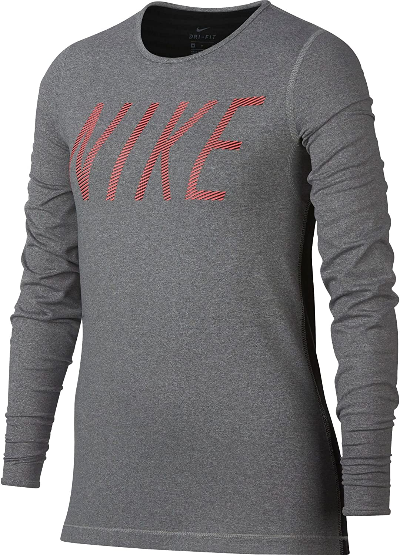 NIKE Girl's Pro Warm Long Sleeve Graphic T-Shirt (Dk Grey Heather, Large)