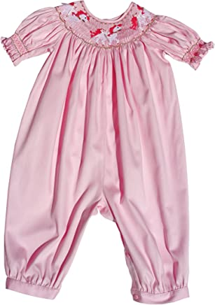 956aabe62a6b Carouselwear Baby Girls Pink Long Bubble Overalls Carousel Horses