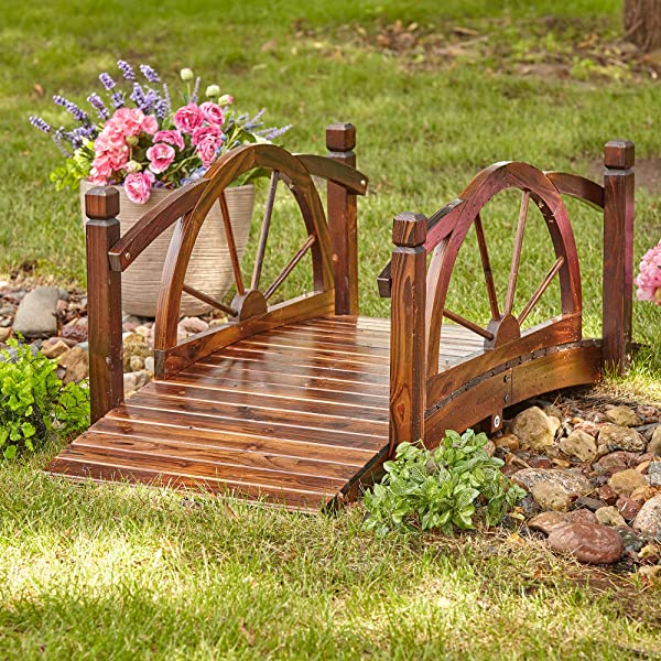 Kotulas Wagon Wheel Wood Garden Bridge