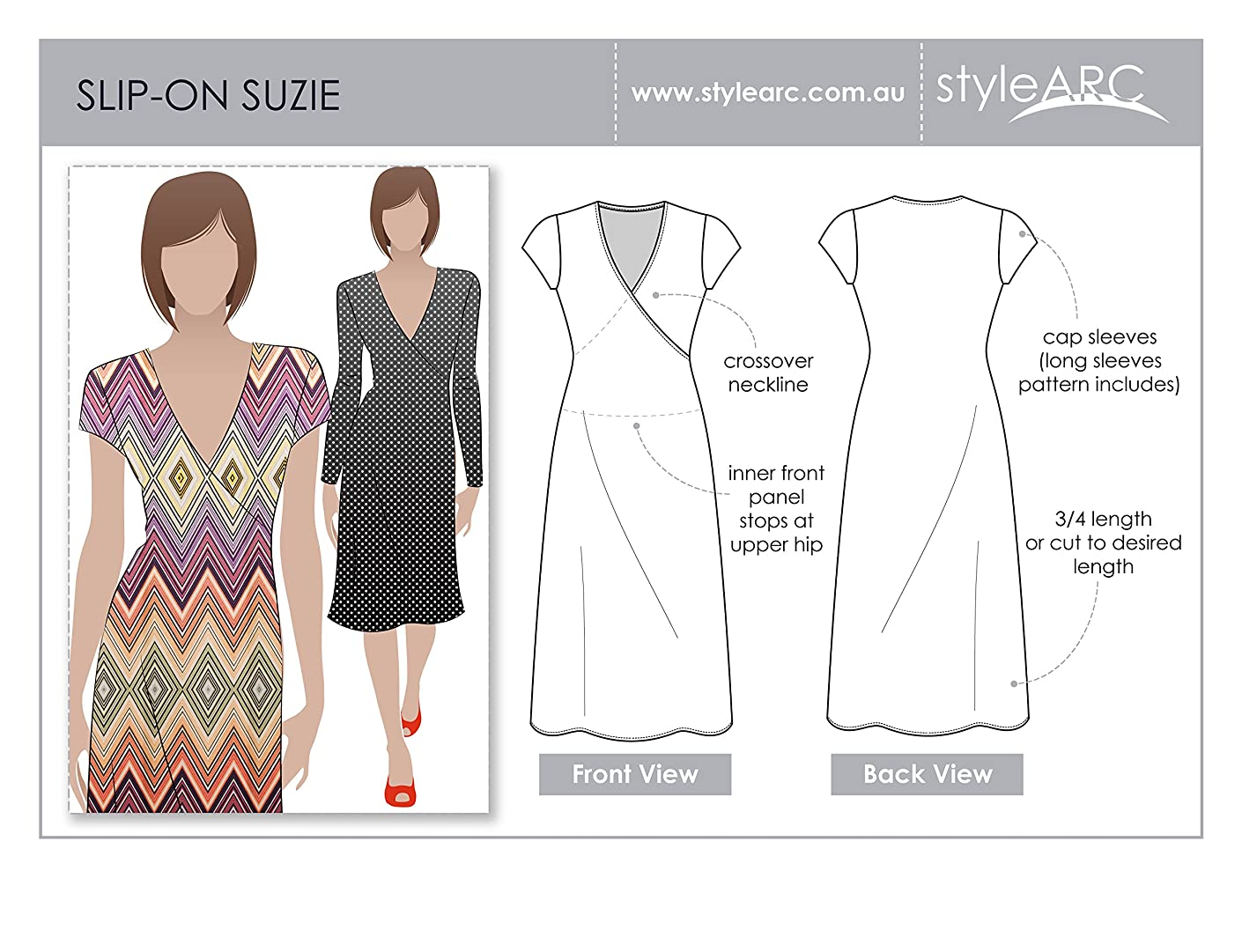 Style Arc Sewing Pattern - Slip on Suzie Dress - Sizes 18-30 - Click for Other Sizes Available