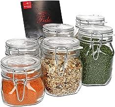 MamboCat 6-TLG. Set Fido Gläser mit Bügelverschluss I Einmachglas Drahtbügel in 3 Größen I Bügelglas 750ml - Vorratsglas 500ml - Drahtbügelglas 1l I Vierkant Glasbehälter zur Aufbewahrung