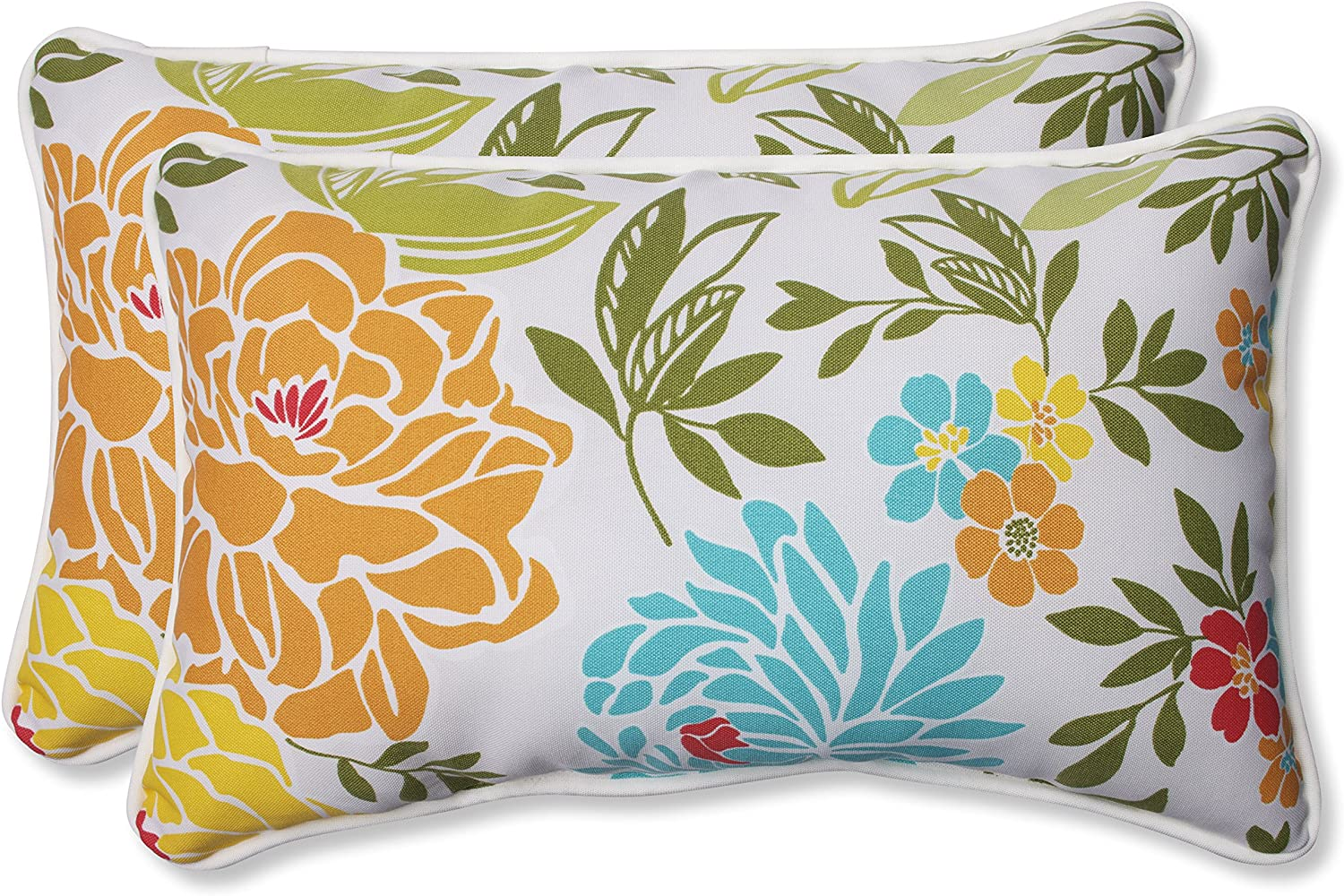 Pillow Perfect Outdoor Spring Bling Rectangular Throw Pillow, Multicolord, Set of 2