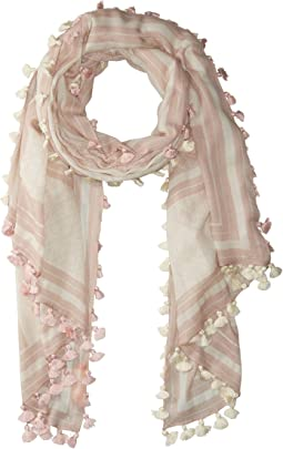 Tory Burch - T Logo Oblong Scarf with Tassels