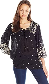 Angie Women's Bell Sleeve Top with Tassels