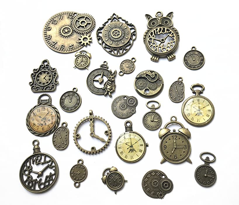 24pcs Mixed Antique Bronze Steampunk Gears Clock Face Charm Pendant for Necklace Bracelet DIY Jewelry Making Crafts