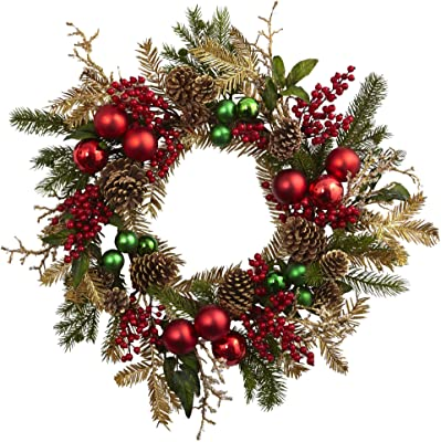 Amazon Com National Tree Company Pre Lit Artificial Christmas Wreath Flocked With Mixed Decorations And Pre Strung White Lights Frosted Berry 24 Inch Home Kitchen