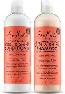 Shea Moisture Coconut and Hibiscus Curl and Shine Combination Set – Includes 16 oz. Shampoo & 16 oz. Conditioner