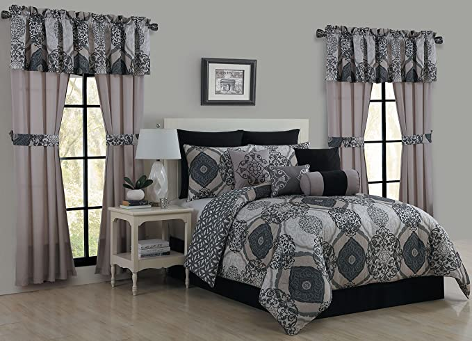Amazon Com Avondale Manor Dolce 20 Piece Bed In A Bag Set Black Queen Home Kitchen