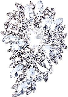 EVER FAITH Women's Austrian Crystal Wedding Flower Leaf Bouquet Brooch