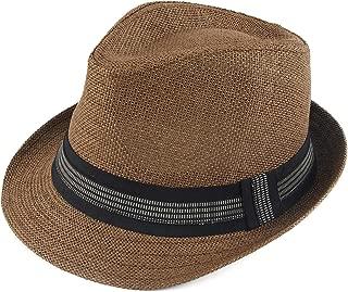 Melesh Classic Sun Straw Trilby Fedora Hat