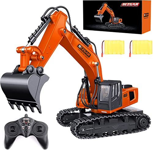 wholesale BEZGAR Remote Control Construction Excavator Toy, 9 Channel RC Excavator online Toys, 2021 RC Construction Truck Vehicle Toys with 2 Rechargeable Batteries, TK181 online
