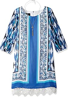 Amy Byer Girls' Big Print Cold Shoulder Dress with Peekaboo Lace
