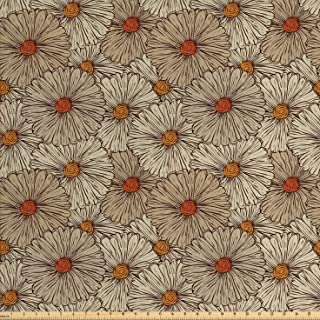 Ambesonne Vintage Fabric by The Yard, Sketch Art Style Gerbera Daisies Abstract Flowers Autumn Garden Flourish, Decorative Fabric for Upholstery and Home Accents, 1 Yard, Marigold Orange