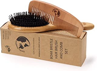 Boar Bristle Hair Brush With Nylon Pins and Free Comb | Pins To Detangle and Better Stimulate Your Scalp | Luxurious For Healthier And Shinier Hair For The Whole Family