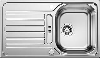 BLANCO LANTOS 45 S - Edelstahlspüle für 45 cm breite Unterschränke für die Küche - Mit Ablauffernbedienung - Leinen Optik - 514010