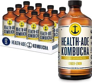 Sponsored Ad - Health-Ade Kombucha Tea Organic Probiotic Drink, 12 Pack Case (16 Fl Oz Bottles), Ginger Lemon