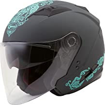 GMAX OF-77 Adult Eternal Open-Face Motorcycle Helmet - Matte Grey/Teal/Large