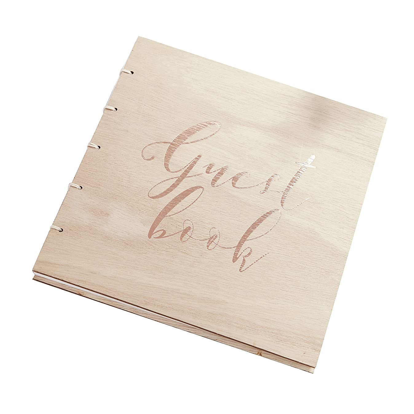 Ginger Ray Rose Gold Wooden Guest Book - Beautiful Botanics