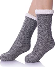 SDBING Women's Winter Super Soft Warm Cozy Fuzzy Fleece-lined Christmas Gift With Grippers Slipper Socks