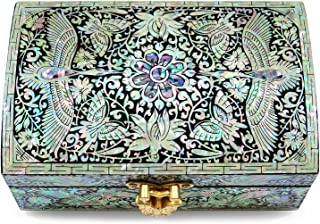 MADDesign Jewelry Trinket Box Wood Mother of Pearl Inlay Mirror Lid Silver Cranes