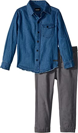 Hudson Kids - Two-Piece Denim Shirt w/ Twill Jogger Pants Set (Toddler)