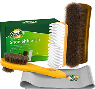 SCRUBIT Shoe Care Kit (4PC) - Leather Shoes Cleaner and Boots Polishing Set - Soft Horsehair Shoe Shine Brush – Crepe Sued...