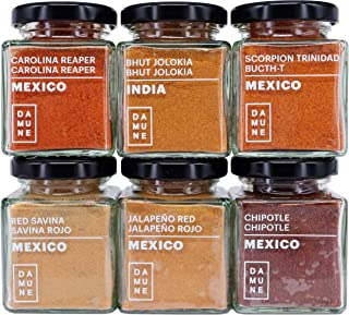 Chiles del Mundo: Carolina Reaper Molido (45g), Bhut Jolokia Molido (45g), Scorpion Trinidad Butch T Molido (45g), Savina Rojo Molido (45g), Chipotle Molido (45g) & Jalapeño Rojo Molido (45g)