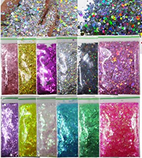 12 Colors Hexagon Chunky Glitter Crafts Sequins Holographic Gold Silver Black Mylar Pink Sparkles Nail Art Flakes for Resi...