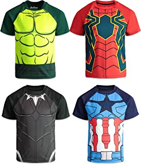 Marvel Avengers Boys 4 Pack T-Shirts Black Panther Hulk Spiderman Captain America