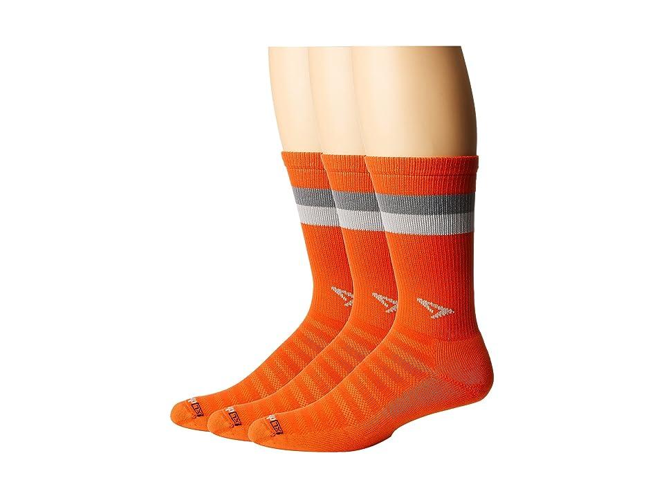 Drymax Sport Run Lite-Mesh Crew 3-Pack (Sunburst Orange/Anthracite/Gray Stripes) Crew Cut Socks Shoes