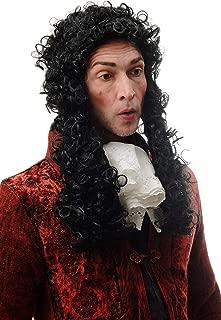 Perruque Homme Historique Renaissance Baroque Noble Noblesse Roi Boucles Noir