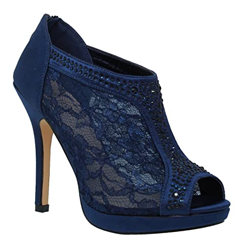 dfaca4cc7af MVE Shoes Women s Elegant Lace Platform Peep Toe Adjustable Ankle Strap  with Back Zipper
